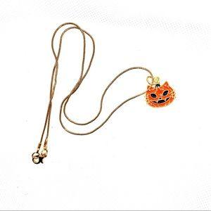 Gold Plated, Halloween Pumpkin, Cat Necklace! NIP!